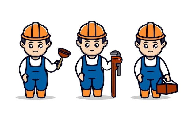 Set mit niedlichen klempner-maskottchen-design-illustrationen Premium Vektoren
