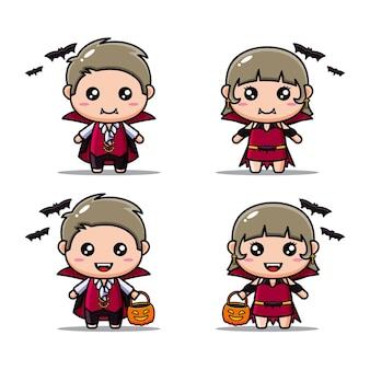 Set mit niedlichen vampir-kostüm-halloween-charakteren
