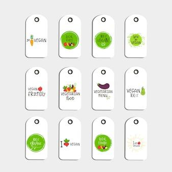 Set mit öko-abzeichen oder -tag, bio-grün-logo