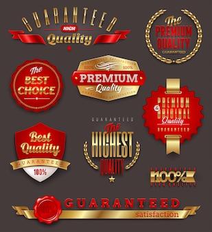 Set mit premium- und qualitätsetiketten und emblemen
