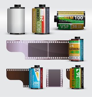 Set mit realistischer kamera filmrolle 35mm film