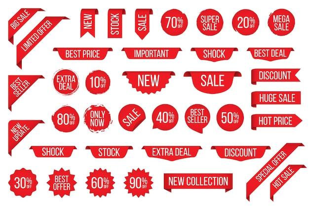Set mit rotem sale-tag-aufkleber für werbung