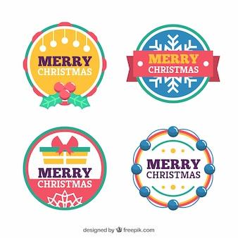 Set mit runden etiketten von frohe weihnachten