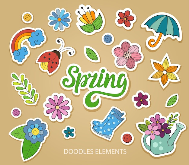 Set mit schönen frühlingsaufklebern im doodle-stil. scrapbooking-elemente, etiketten. vektorillustration eps10