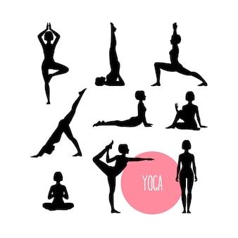 Set mit schöner frau, die verschiedene yoga-posen trainiert