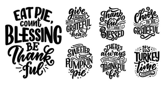 Set mit schriftzug zitate für thanksgiving day.