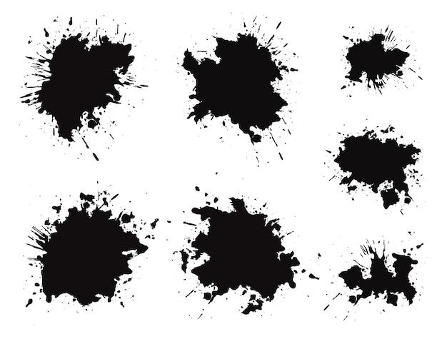 Set mit schwarzen grunge-tintenflecken