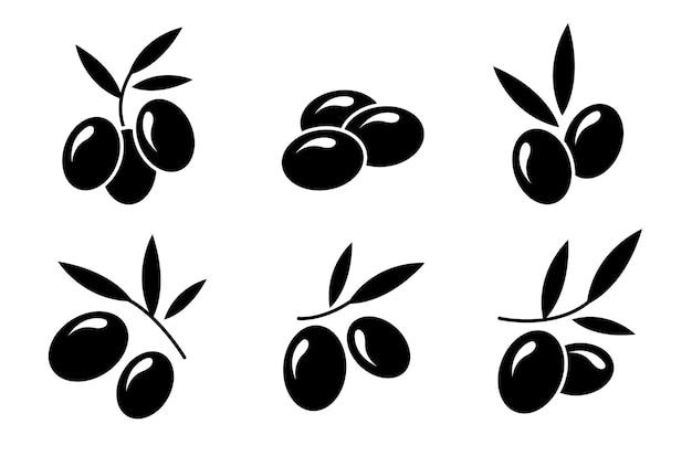 Set mit schwarzen oliven-symbolen in einem flachen stil vektor-illustration isoliert auf weißem hintergrund