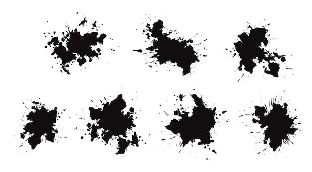 Set mit schwarzen tintenspritzern