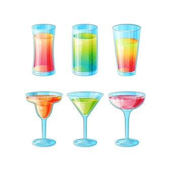 Set mit sechs handgezeichneten gläsern mit langen alkoholcocktails