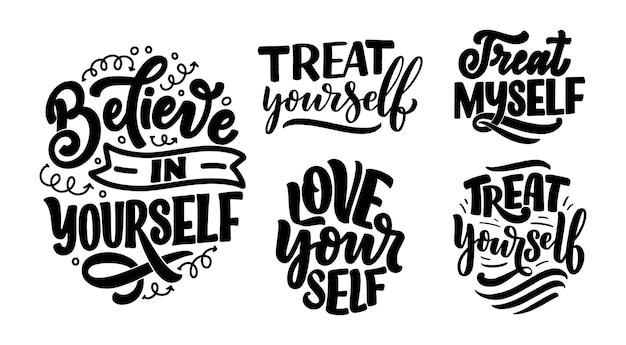 Set mit selfcare schriftzug zitate für blog oder verkauf. zeit für etwas schönes.