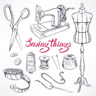 Set mit sketch schneiderei ausrüstung. schaufensterpuppe, nähen, nähmaschine. handgezeichnete illustration