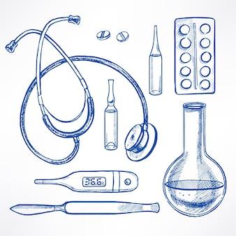 Set mit skizze medizinische versorgung. skalpell, stethoskop, glühbirne. handgezeichnete illustration