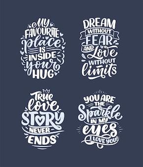 Set mit slogans über die liebe im kalligraphiestil. abstrakte schriftzugkompositionen.