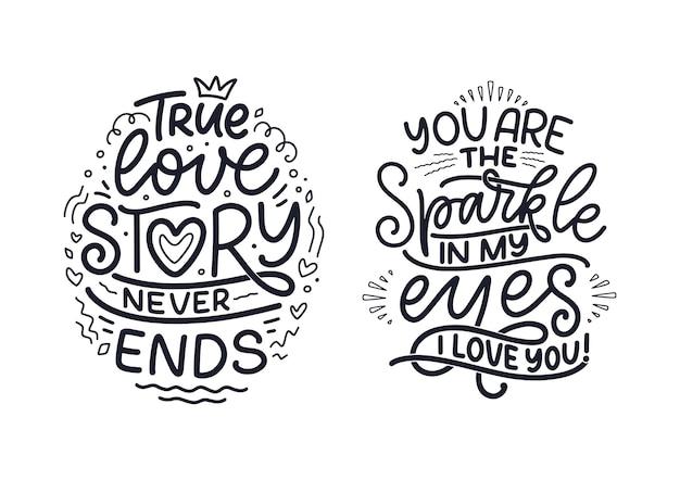 Set mit slogans über die liebe im kalligraphiestil.