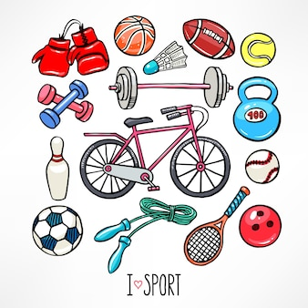 Set mit sportgeräten. handgezeichnete illustration