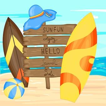 Set mit strandzubehör und surfbrettern. cartoon-stil.