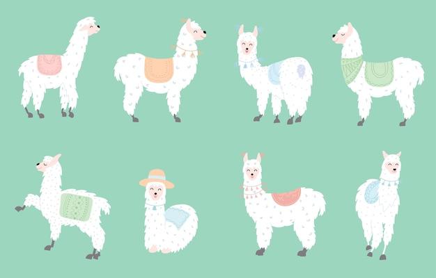Set mit süßen lamas. isolierte umriss cartoon baby lama vektor. guanako, alpaka, vikunja.