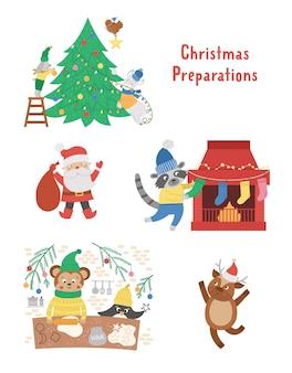 Set mit süßen weihnachtsvorbereitungsszenen. tiere schmücken bäume, backen kekse, hängen strümpfe an einem kamin. winterillustration mit lächelnden charakteren. lustiges kartendesign. neujahrsdruck