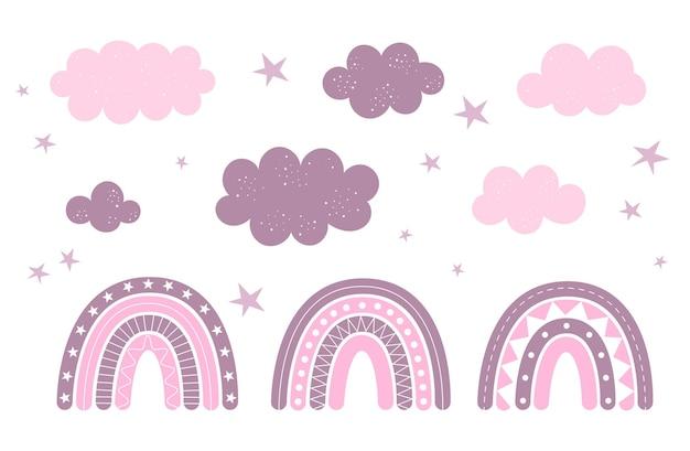 Set mit süßen wolken, sternen und boho-regenbögen, kinderzimmerdekor, babykleidungsdruck, tapete.