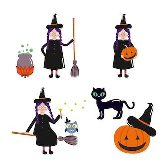 Set mit süßer hexe für halloween-feiertage. schwarze katze und kürbis. sammlung von aufklebern für den 31. oktober. vektorfigur im cartoon-stil.