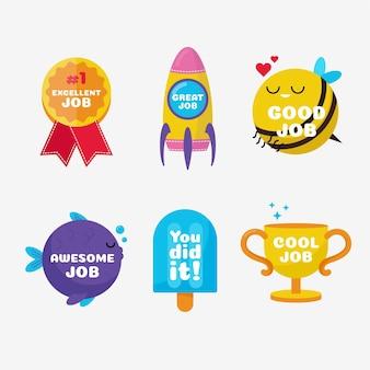 Set mit tollen jobs und guten jobaufklebern