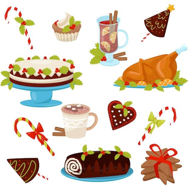 Set mit traditionellen weihnachtlichen speisen und getränken. leckeres hühnchen zum weihnachtsessen. leckere desserts und heiße getränke