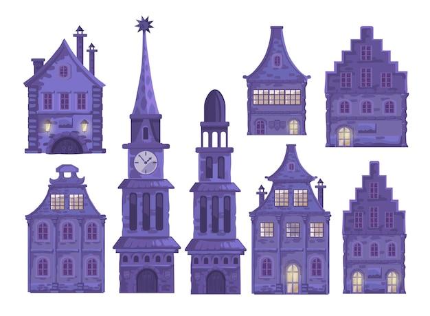 Set mit traditioneller europäischer altstadt. stadthalle, kapelle, schöne häuser, stadtstraße.
