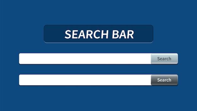 Set mit trendiger suchleiste mit fallendem schatten und volumetrischer schaltfläche. vektorkonzeptelement für webdesign, app, software und schnittstellendesign. bereit suchleiste für website.