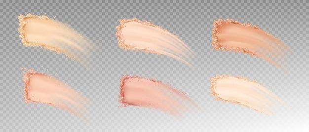 Set mit trockenen puder-foundations-abstrichen