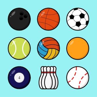 Set mit verschiedenen arten von sportbällen