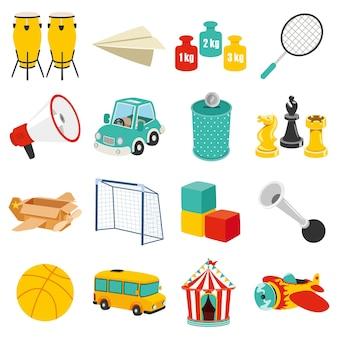 Set mit verschiedenen bunten spielzeugen