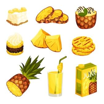 Set mit verschiedenen desserts und getränken aus ananas