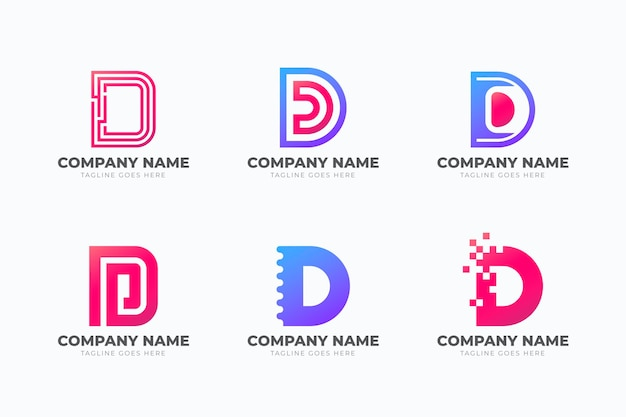 Set mit verschiedenen farbverläufen d logo