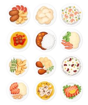 Set mit verschiedenen gerichten auf den tellern traditionelles essen aus der ganzen welt illustration