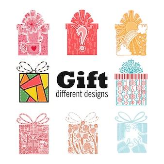 Set mit verschiedenen geschenkboxen. 8 verschiedene gezeichnete gekritzelart der geschenke in der hand. geschäft m