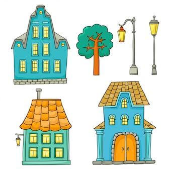 Set mit verschiedenen häusern. vektorskizzenhäuser und architekturelemente