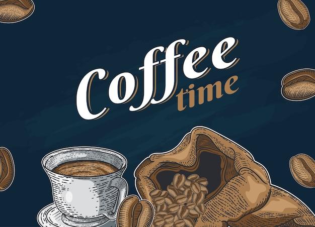 Set mit verschiedenen kaffeesorten. hand gezeichnete illustration