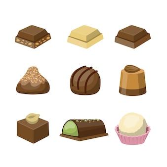 Set mit verschiedenen leckeren leckeren schokoladenbonbons. dessert zum kaffee. illustration