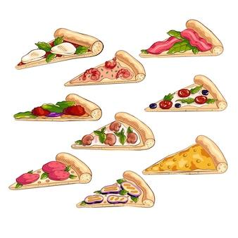 Set mit verschiedenen leckeren scheiben frischer italienischer pizza