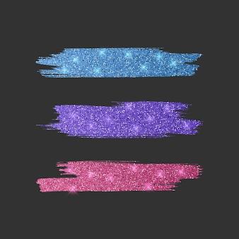 Set mit verschiedenen linienbürsten. glitzerpinselsammlung der rosa, blauen und lila farben, illustration