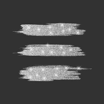 Set mit verschiedenen linienbürsten. glitzerpinselsammlung mit silber glänzender textur, illustration