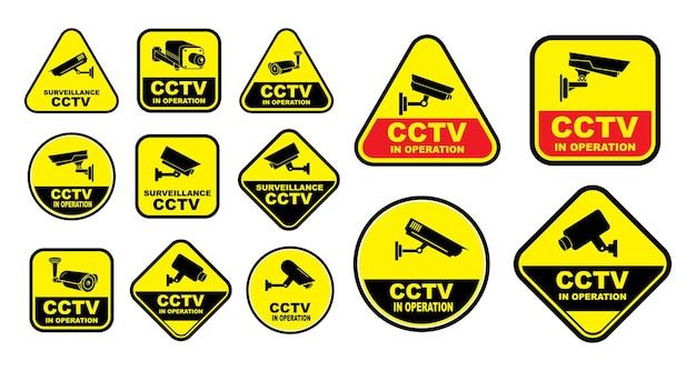 Set mit verschiedenen überwachungskameras oder cctv für straßenhaus- und gebäudekonzept-eps-vektor