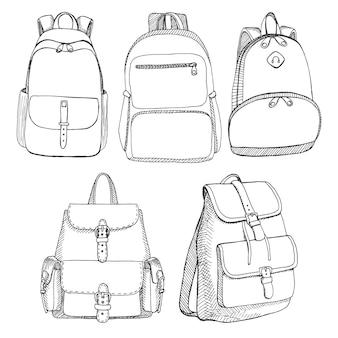 Set mit verschiedenen unisex-rucksäcken. illustration im skizzenstil.