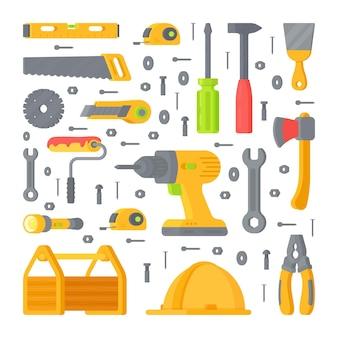Set mit verschiedenen werkzeugen und geräten für reparaturen