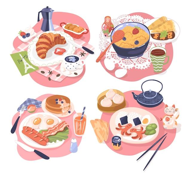 Set mit vier arten von traditionellem frühstück russisch-asiatisch-amerikanisch-französisch-vektor-illustration