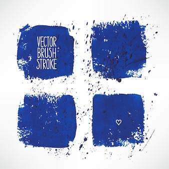 Set mit vier blauen strichhintergründen. handgezeichnete illustration