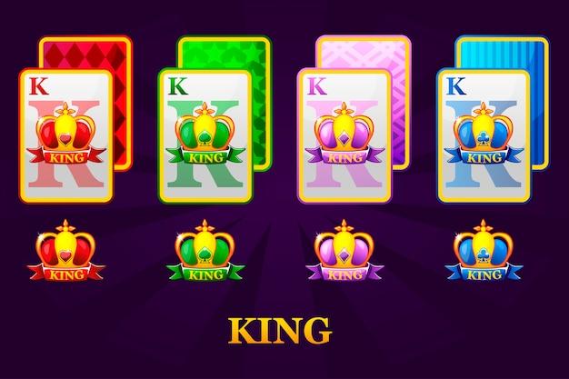 Set mit vier kings-spielkarten passt zu poker und casino. satz herzen, pik, keulen und diamanten könig.