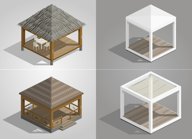 Set mit vier pavillons