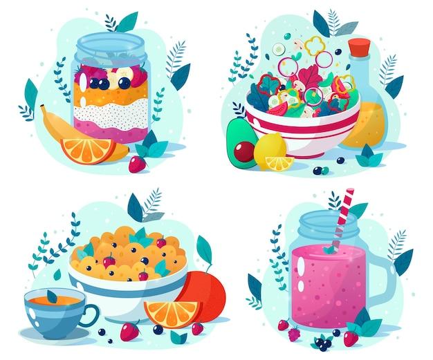 Set mit vier schönen gesunden lebensmitteln: beeren-smoothie, gemüsesalat, chia-samen-pudding, haferflocken mit tasse tee.